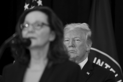 Gina Haspel, on her appointment as head of the CIA in May 2018, and President Donald Trump.