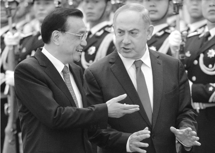Benjamin Netanyahu and the chinese prime minister, Li Keqiang, on march 2017.
