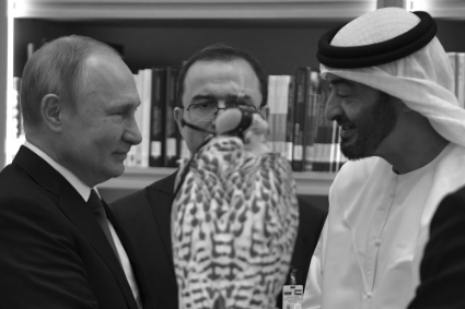 Russian President Vladimir Putin and Abu Dhabi Crown Prince Mohamed bin Zayed.