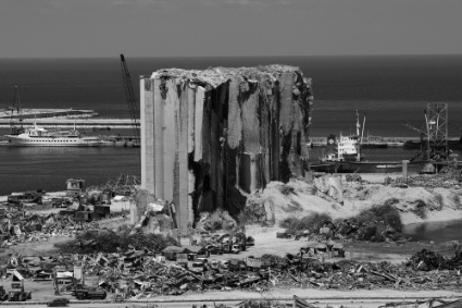 A general view shows the damaged port area in the aftermath of a massive explosion in Beirut.