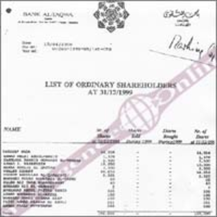See the list of shareholders in the Al Taqwa bank (attached document)