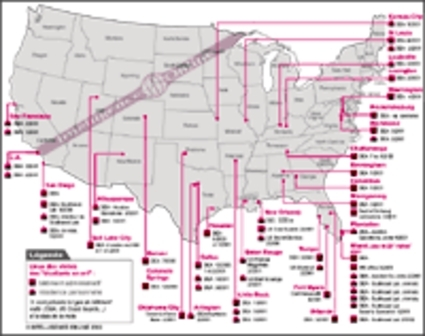 See the map of the Israeli network's operations in US (attached document)