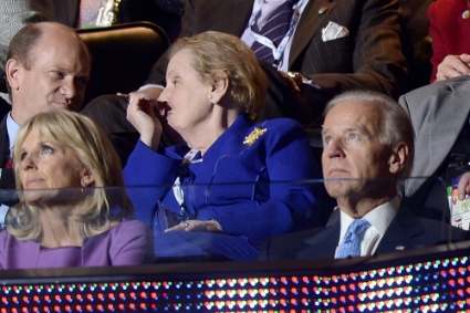 Former US secretary of state Madeleine Albright, with Joe Biden and his wife Jill (left), in 2012.
