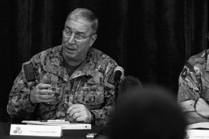 Miller, a former commander of the Combined Maritime Forces (CFM), the US Naval Force Central Command (NAVCENT), was pictured here during a news conference at Central Command headquarters in Manama, November 2, 2014.