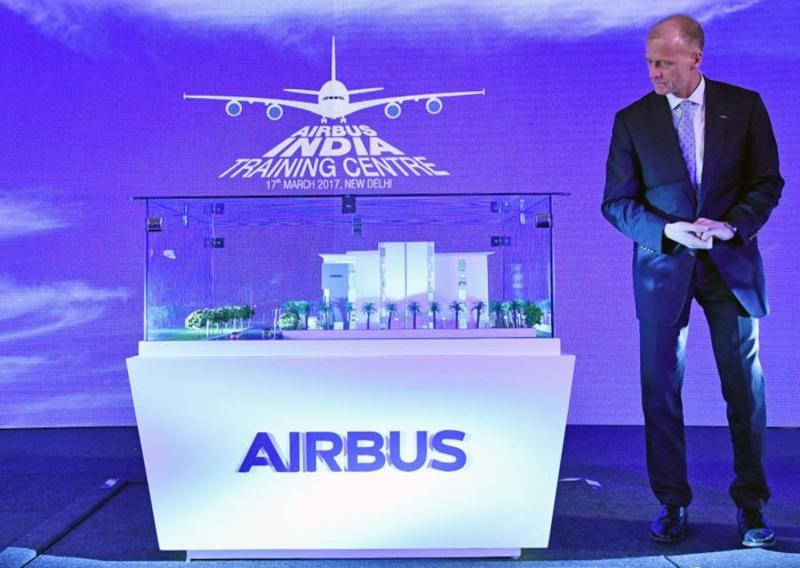 Tom Enders CEO of Airbus Group at the Airbus India Training Centre on march 15 ©Bloomberg via Getty