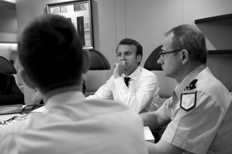 Richard Lizurey, head of the Gendarmerie Nationale, with French President Emmanuel Macron.