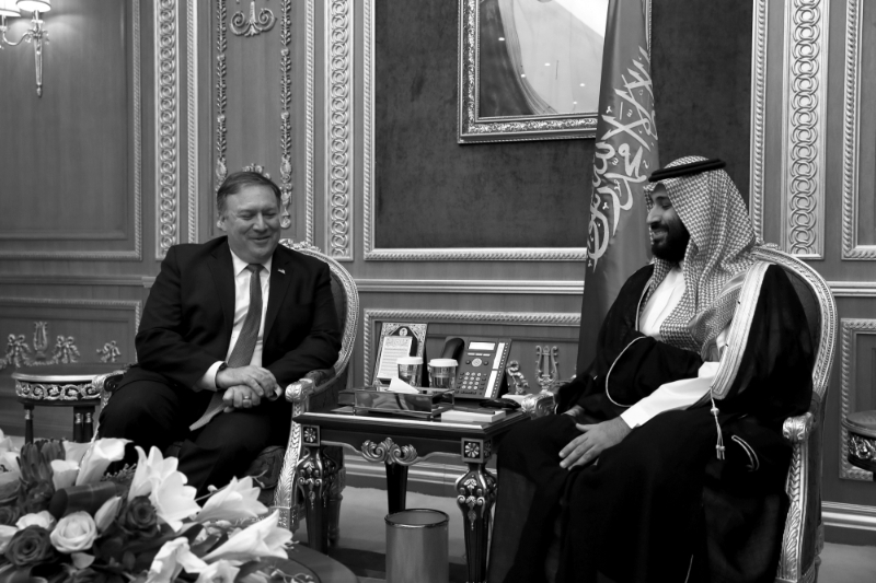 Mohamed bin Salman received US Secretary of State Mike Pompeole October 16, 2018 in Riyadh.
