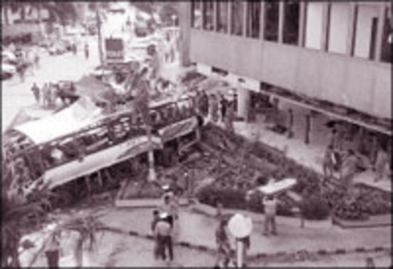 The bus in the Karashi street where it was bombed (DR)