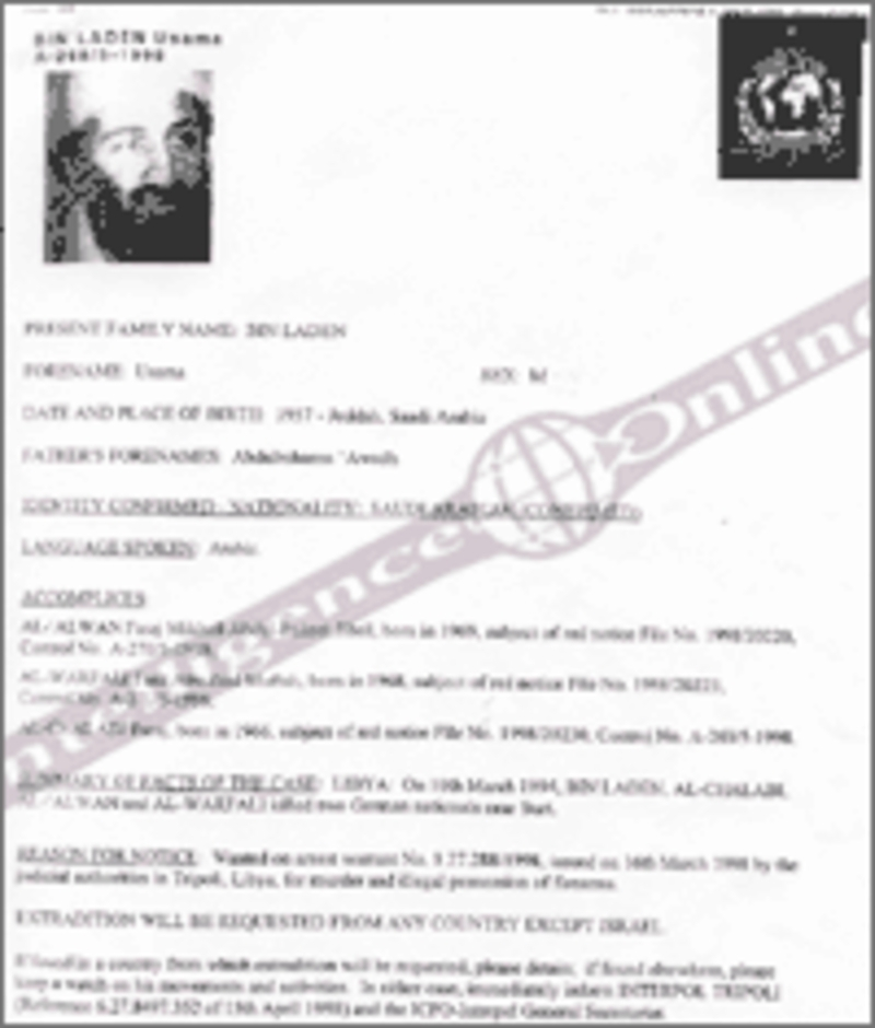 The first international warrant against Bin Laden, after a Libya request